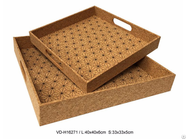 Serving Tray In Cork Kitchen Living Room Accessories Set Of 2 With Printing Manufacturer
