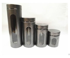 Classical Retro Glass Jar Canister With Long Cylindrical Shape Window And Spray Paint Material