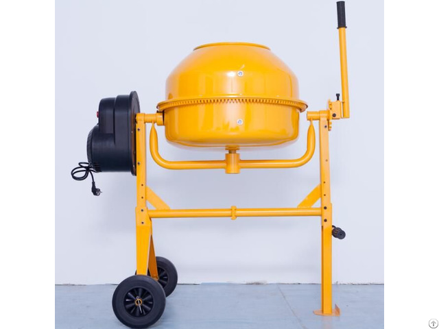 Electric Motor Powered Cement Concrete Mixer With Bar Handle Operation