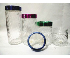 Transparent Glass Canister Storage Bottle With Plastic Lids