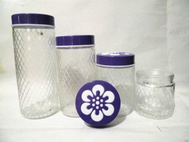 Glass Canister Storage Bottle With Plastic Lids