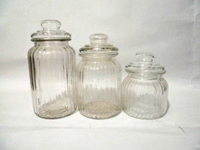 Transparent Canister Bottle With Vertical Grain And Glass Lids