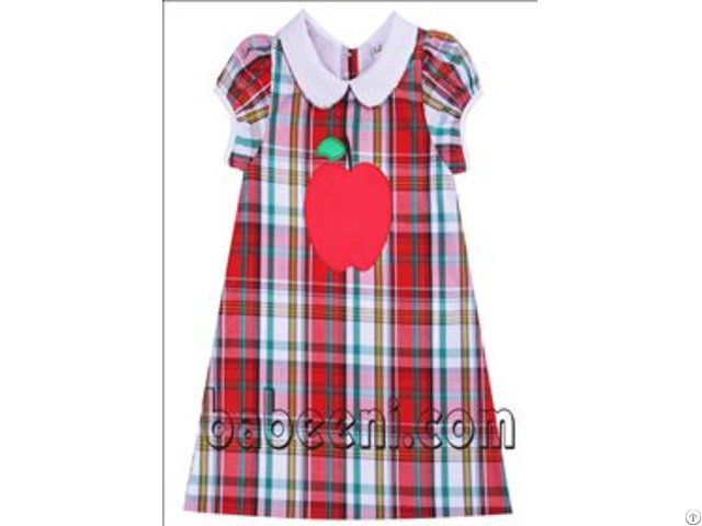 Nice Apple Applique A Line Dress For Girl Bb795
