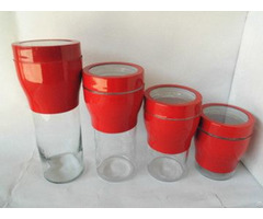 Glass Canister With Stainless Steel Set S 4