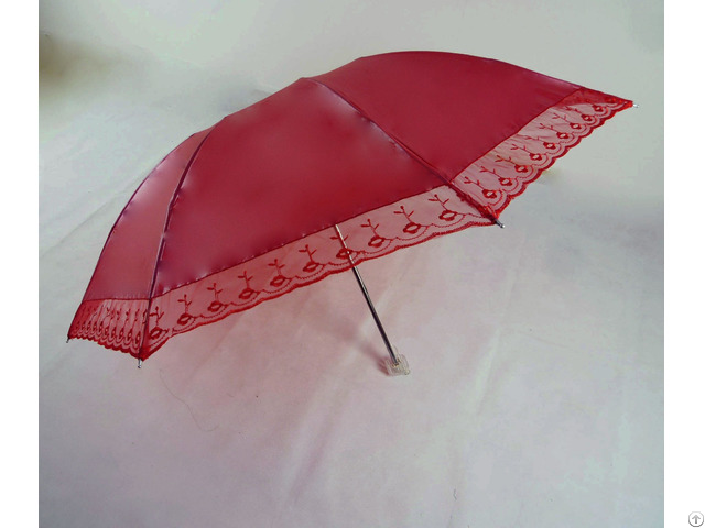 Three Folds 8k Fashion Lady Flower Pattern Umbrella
