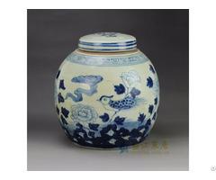 Rzgc01 C China Supplier Low Price Hand Paint Bird Flower Pattern Blue And White Ceramic Jar