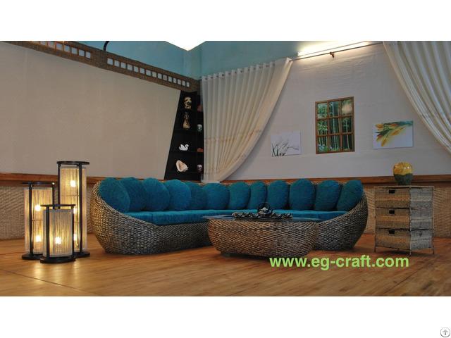 Evergreen Wicker Indoor Sofa Set For Living Room