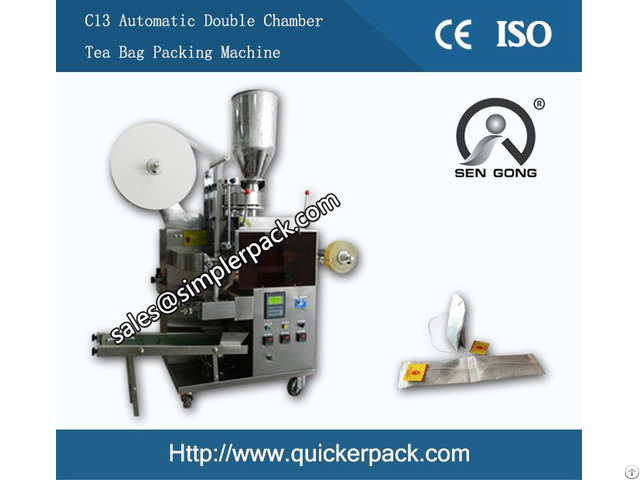 Automatic Double Chamber Tea Bag Packing Machine With Thread And Tag