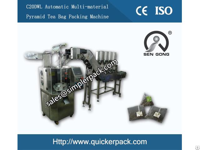 Multi Materials Pyramid Tea Bag Pouch Packing Machine