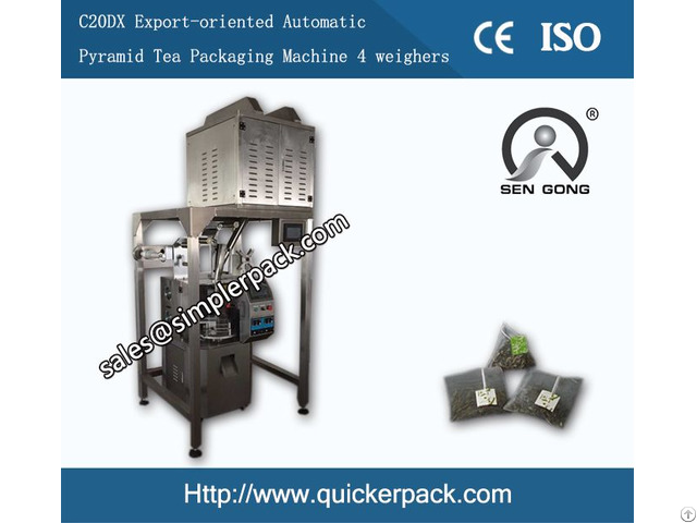Pyramid Nylon Bag Packing Machine With Thread And Tag