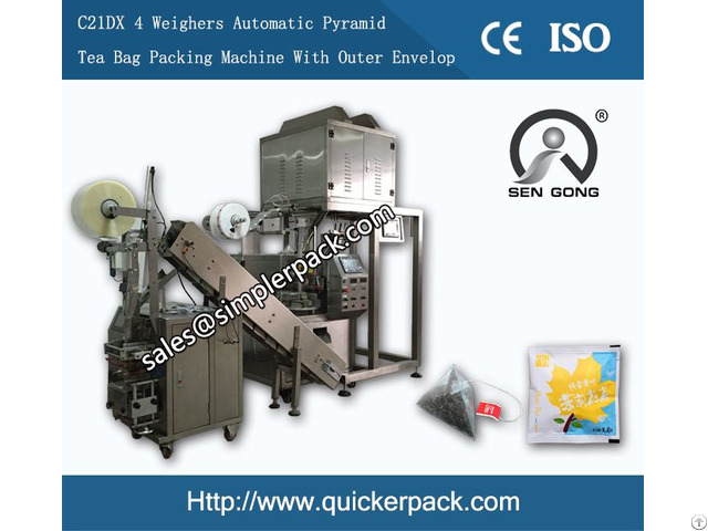Pyramid Nylon Bag Packing Machine With Outer Envelope