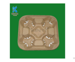Custom Food Grade Fiber Molded Pulp Cup Carrier Tray