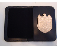 Neck Chain Badge Holder Leather Police Wallet