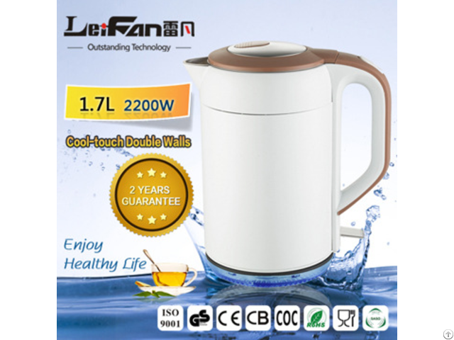 Cylinder Double Wall Stainless Steel Electric Kettle With Led Light On Base