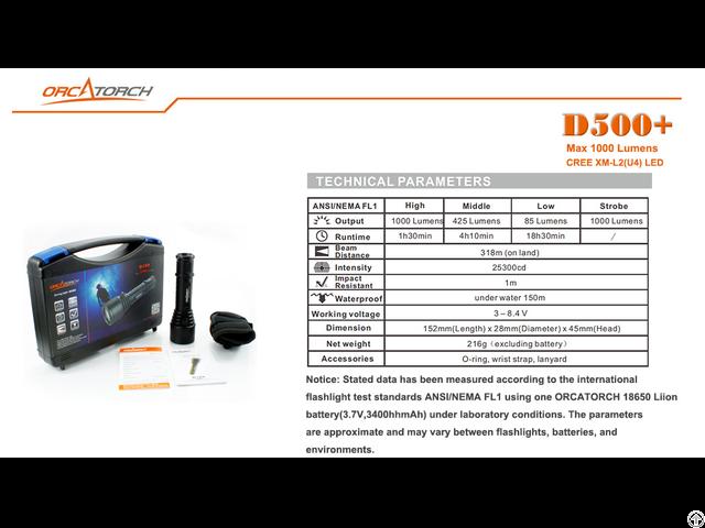 Dive Lights Orcatorch D500