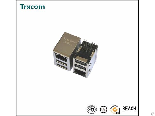Trxcom Rj45 Connector With 10 100base Tx Jack Dual Usb Combo Trju5104bgnl