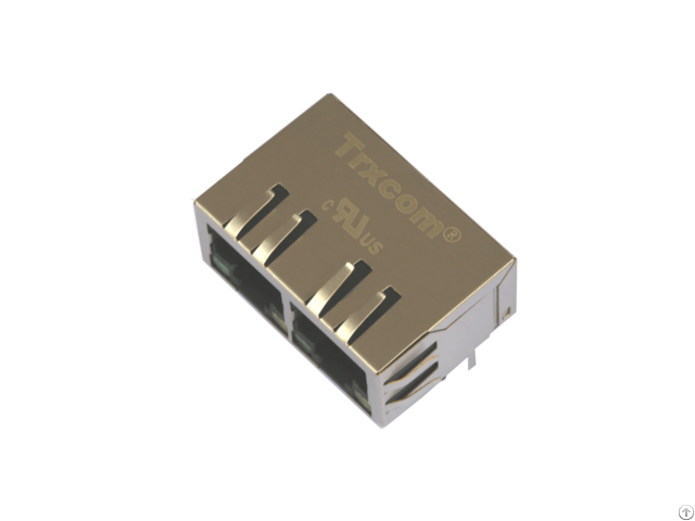 1000base Tx 1x2 Shielded Dual Port Transformer Magnetic Rj45 Connector Trjg26801adnl