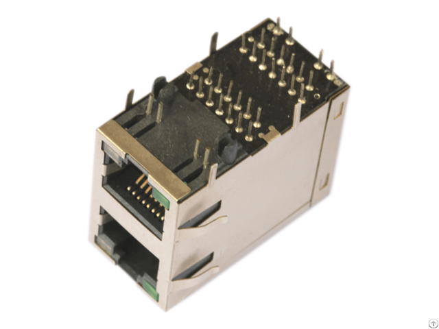 2x1 Rj45 Connector With 10 100base T Integrated Magnetic Trj17202cnl