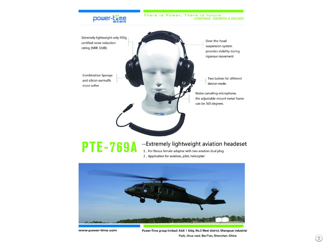 Extremely Lightweight Aviation Headset For Pilot Helicopter Pte 769a