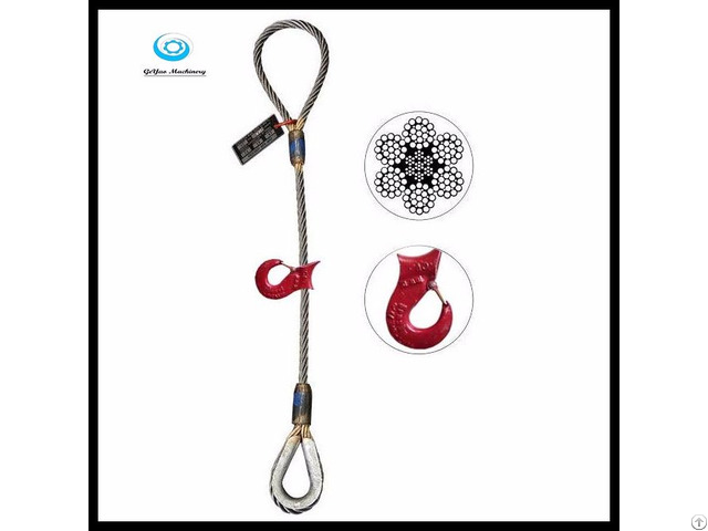Single Leg Wire Rope Slings Eye Sliding Choker With Thimble