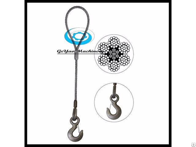 Single Leg Wire Rope Slings Eye Hook 6x25 Iwrc