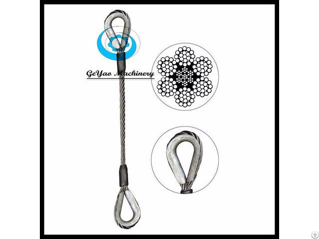 Single Leg Wire Rope Slings Thimble 6x25 Bright Eips Iwrc