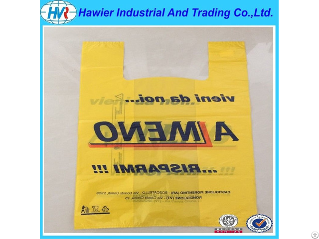 Custom Size Printed Plastic Hdpe T Shirt Bag