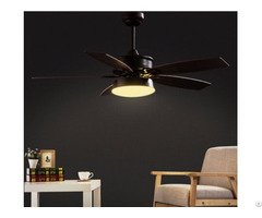 American Rustic Style Ceiling Fan With Led Light Wooden Blades