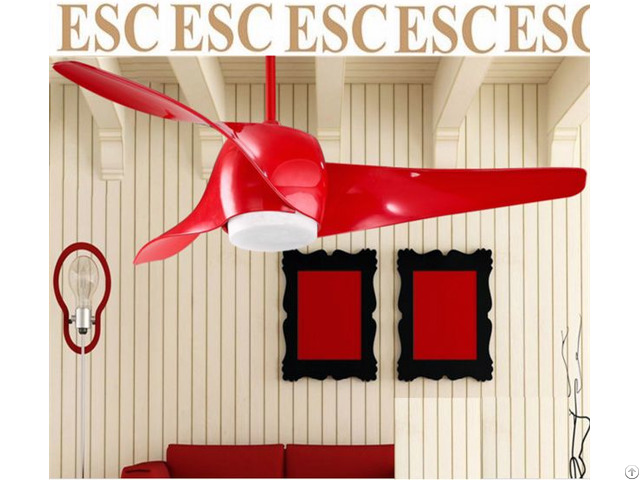 Modern Style Ceiling Fan With Led Light White And Red Color