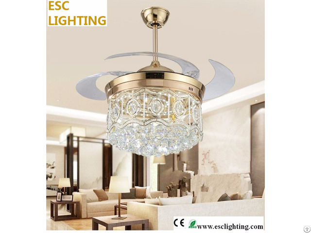 New Design Luxurious Crystal Ceiling Fan With Light