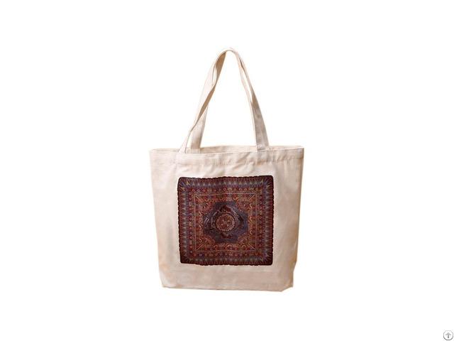 Custom Printed Natural Cotton Canvas Reusalbe Shopping Tote Bag