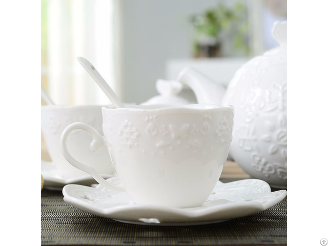 European Relief Coffee Cup And Saucer