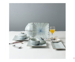 Hand Painting Blue Strip Tableware Set