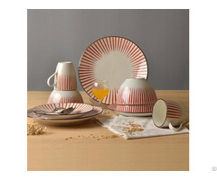 Hand Painting Red Strips Tableware Set