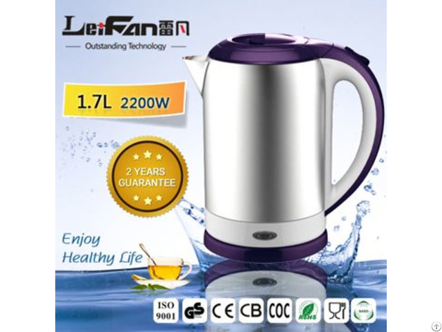 360° Rotational Plastic Handle Stainless Steel Water Kettle