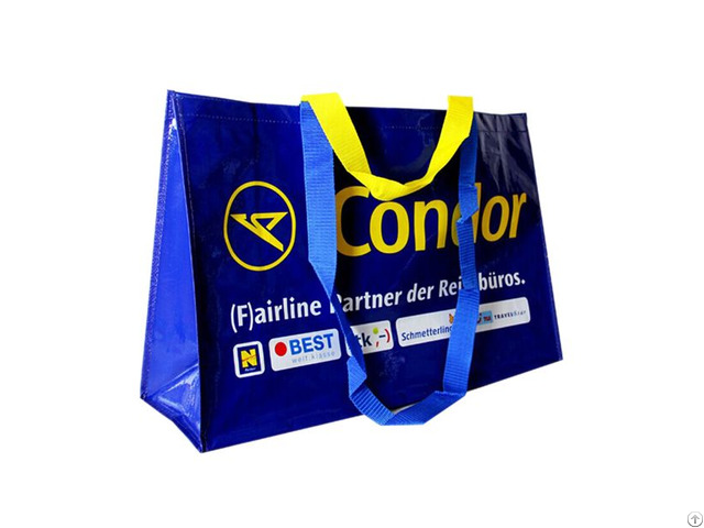 Custom Printed Woven Pp Shopping Bags With Glossy Lamination