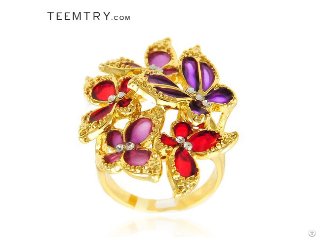 Wholesale Multi Butterfly In Enamel Cocktail Rings Teemtry Com