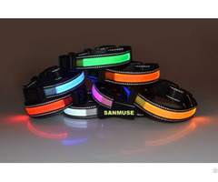 Reflective Led Nylon Pet Dog Collar Solar Energy And Usb Charge