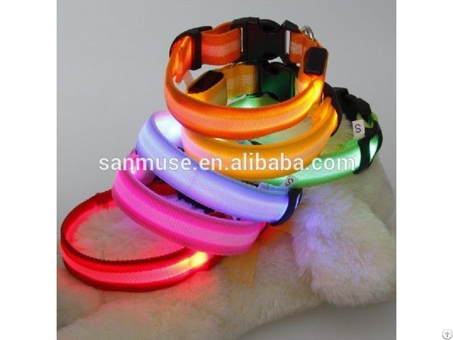 Hot Sales Flash Pet Products Dog Nylon Led Collar