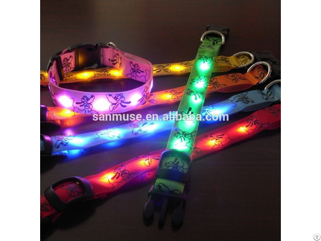 Doggie Brutto Flashing Safety Pluto Pattern Pet Dog Small Scale Led Light Up Adjustable Collar