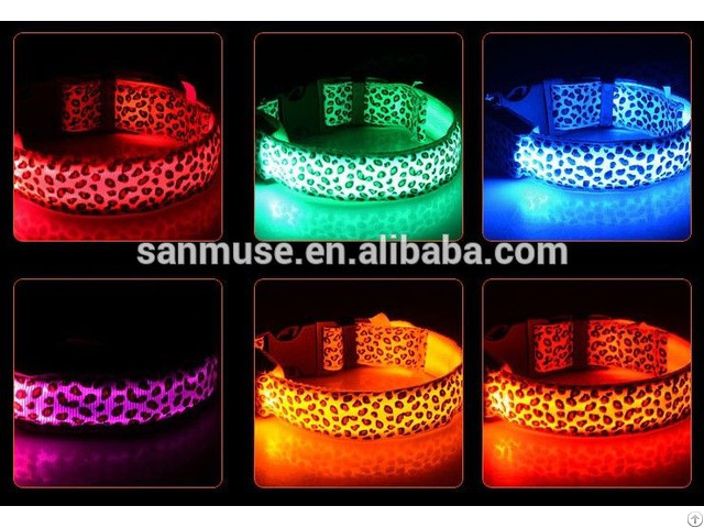 Hot Sale Leopard Print Glowing Led Dog Collars