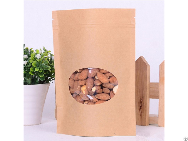 170g Capacity Kraft Paper Standup Bag With A Clear Oval Window