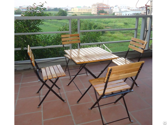 Folding Garden Set Wooden Table And Chair Metal Frame