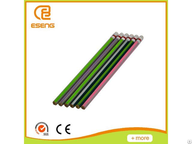 Metallic Colorful Stripe Hb Pencil With Eraser