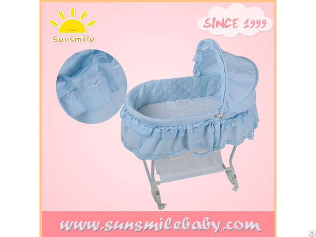 En1130 Astmf2194 Standard Automatic Folding Baby Portable Cradle With Lace Decoration