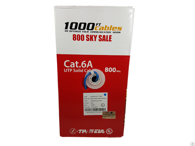 1000ft Cat6a Plenum 550mhz Solid Copper Utp Ethernet Cable