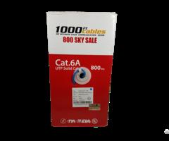 1000ft Cat6a Plenum 550mhz Solid Copper Utp Ethernet Cable