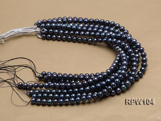 Wholesale High Quality Aa Grade 10 11mm Black Round Freshwater Pearl String
