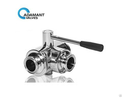 Sanitary 3 Way Full Port Ball Valve With Tri Clamp Ends Manual Type