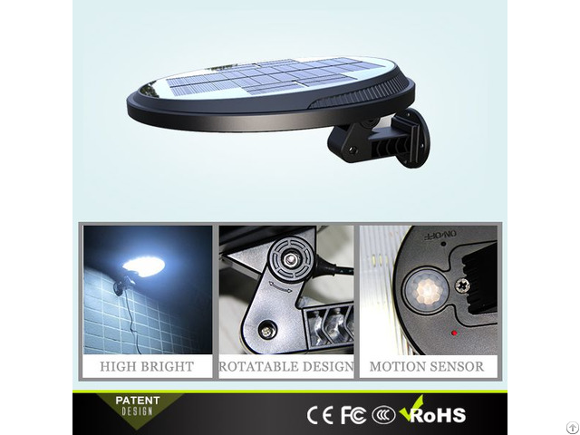 Rotatable Plastic Lamp Body Solar Motion Wall Light